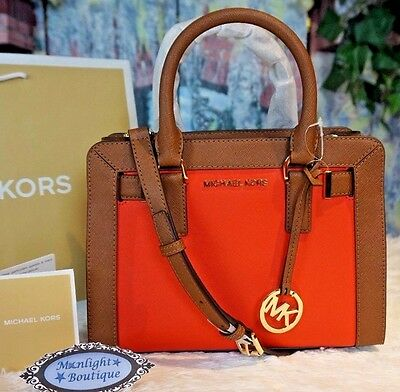 86bab61774e22b NWT MICHAEL KORS DILLON Top Zip Small Satchel Crossbody Bag SIENNA/LUGGAGE  $268