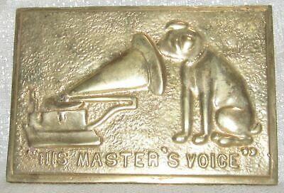 """Nipper Victor Edison dog phonograph polished bronze wall plaque 4-1/2"""" x 6-3/4"""""""