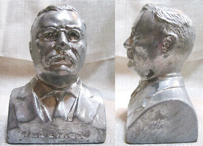 President Theodore Teddy Roosevelt Bust paperweight sanded alum metal USA made