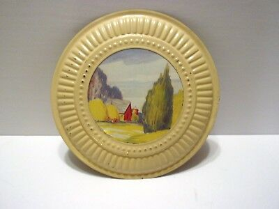 Vintage Round Metal Framed Picture......farmhouse Vent Plate Cover