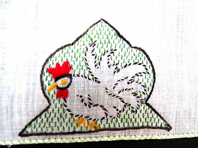 8 Vtg Rooster Cocktail Napkins Embroidered Chickens in Coop Barware Coasters