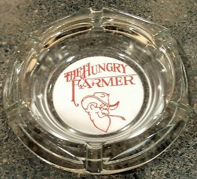 The Hungry Farmer red logo Ashtray Round Clear Glass ash tray EUC