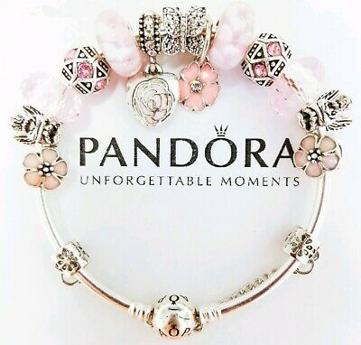 Authentic Pandora Bracelet Silver Bangle with Pink Wife Mom European Charm