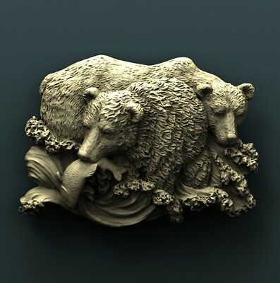 3d STL Model Relief for CNC Router Aspire _ (0382) Bears