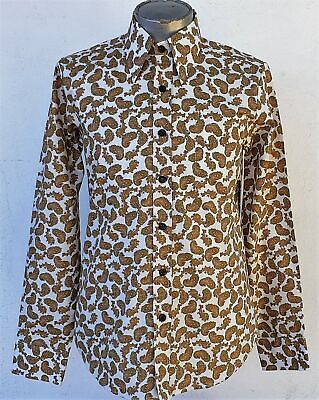 Funky 70's inspired shirt by 'Chenaski of Germany', Tan/creme Paisley, cotton.