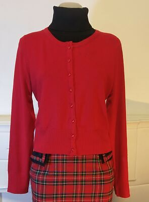 Hell Bunny 'Paloma' 50's inspired Cardigan, Red and plus size