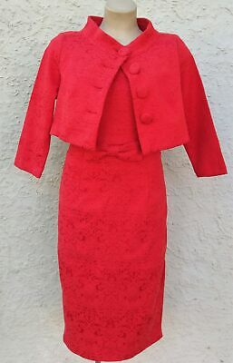 Lindy Bop 'Maybelle' Red Jacquard Twin Set (last one 16)