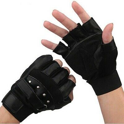 Leather Gloves Half Finger Fingerless Cycling Driving Motorcycle Sports Cool Men