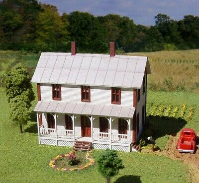 American Model Builders 640 N Two-Story Farmhouse Kit with Porch LASERkit®