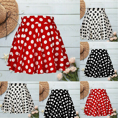 Just Short Mini Skirt Red Polka Dot High Waist Women/'s Little Distressed 9/'/' 007