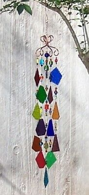 Handcrafted Stained Glass, Bead and Copper Suncatcher Mobile