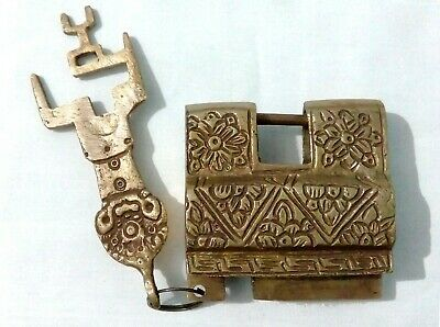 Vintage Antique finish Tibetan style Brass Made Padlock with a key from India