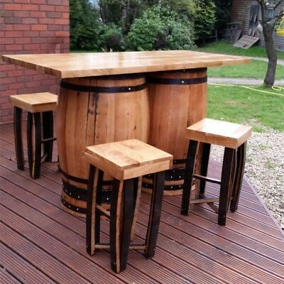Recycled Solid Oak Double Whiskey Cask Bar Table | Patio Table with Four Stools