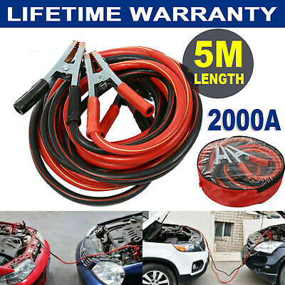 2000AMP Jump Leads 5M Long Heavy Duty Jump Start Car Booster Cable Truck Van UK