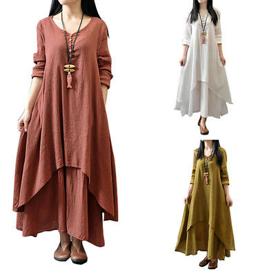 Women Soft Peasant Ethnic Boho Cotton Linen Long Sleeve Maxi Dress Gypsy Dresses