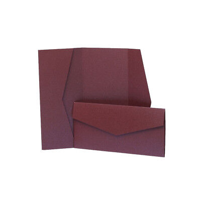 Deep Purple Pearlescent Pocketfold Invites with envelopes. DIY Wedding Wallets