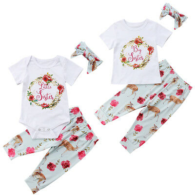 UK Toddler Baby Girls Little/Big Sisters Romper T-shirt Floral Pants Outfits Set