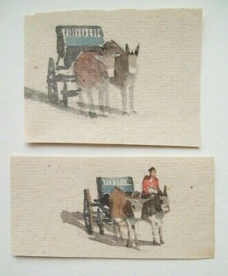 FINE QUALITY PAIR OF MINIATURE 18th CENTURY WATERCOLOUR SKETCHES - DONKEY CARTS