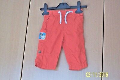 Baby Boys M & S Trousers 3 - 6 Months Coral Cotton Elasticated Waist With Button