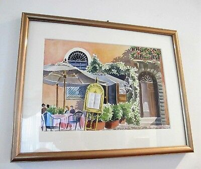 Original Water Color Painting From Rome Italy...framed Under Glass. Bar Navona