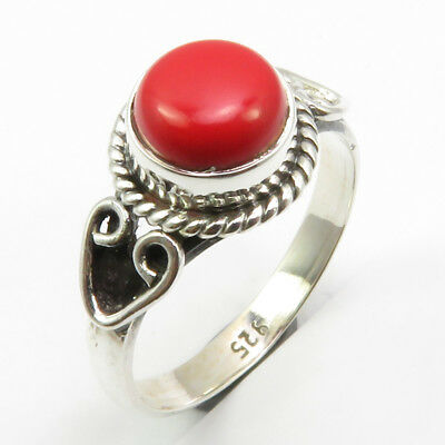 Sterling Silver Simulated Coral Vintage Style Ring Size 6 Modern Fashion Jewelry