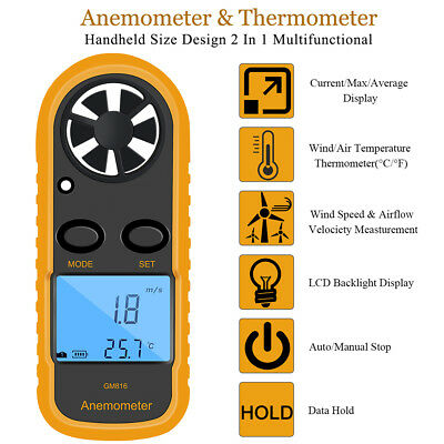 GM816 Digital Anemometer Wind-Speed Gauge Meter Airflow Windmeter Thermometer