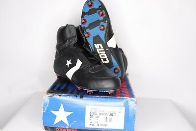 0d0cfe3576a5 Vintage 90s New Converse Mens 10 Cons Invader Hi Leather Football Cleats  Black