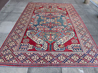 Old Traditional Hand Made Natural Dye Afghan Wool Red Blue Kazak Rug 320x222cm