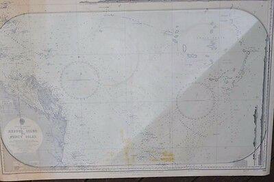 Vintage map Keppel Isles to Percy Isles  Original 1965 Maritime QLD East coast