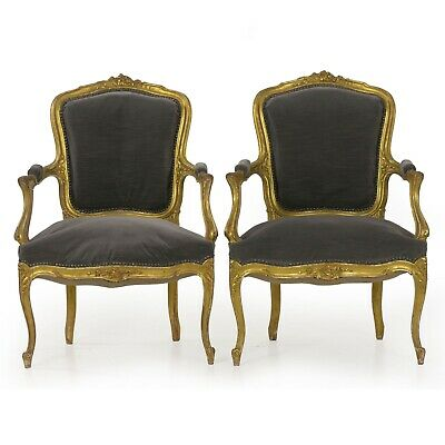 ANTIQUE FRENCH CHAIRS |Pair of Louis XV Style Carved Fauteuils Arm Chairs c.1900