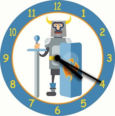 NOVELTY WALL CLOCK - Knight in Shining Armour Design (3) - Childrens Wall Clock