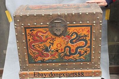 """20"""" China Wood Lacquerware Dragon Loong Locker Chest Jewelry Box Case"""