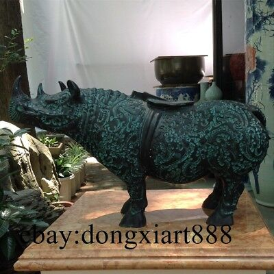 31 CM Chinese Ancient Bronze Cattle Ox Oxen Bull Cattle Fengshui Statue Pot Jug