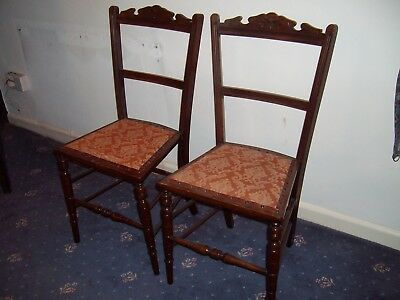 Pair of Victorian Mahogany Bedroom Salon Hall Bedroom Chairs