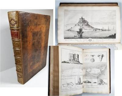 1754 CORNWALL ILLUSTRATED Ancient DRUIDS Celtic Castles Britain Borlase Map 1st
