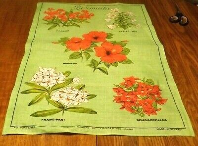 VINTAGE ULSTER PURE Irish Linen Dish Tea Towel Map Ireland with