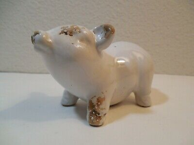 """Old Ceramic White Pig Figurine Looks Like Been In Mud ~ 2 1/4"""" Tall 3 1/2"""" Long"""