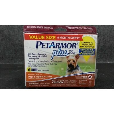 Pet Armor Plus Flea/Tick 6 Month Treatment, Dogs & Puppies 4-22Lbs, 8 Wks of Age