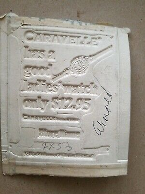 VTG Wood Ad Mat Lead Mold for Print Advertising Caravelle Bulova Watch