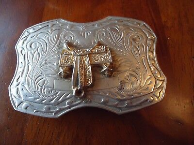 Belt Buckle VTG Nickel Silver Saddle Western Two Step approx. 3.5 x 2.25 in (BB)