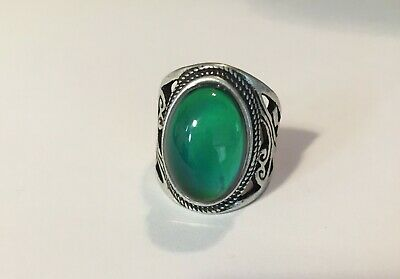 Vintage Style Mood Ring Antique Style. Sterling Silver Plated Size 8