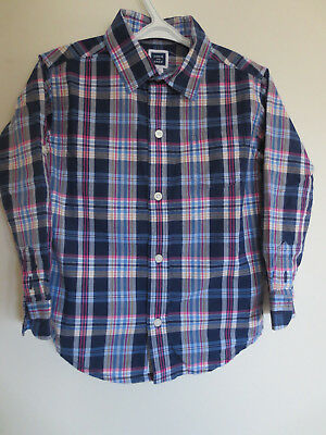 Janie and Jack Plaid Button Down Shirt Toddler Boys Size 3 Easter Pink VGUC