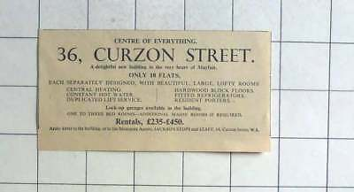 1936 Separately Designed Flats In 36 Curzon Street, To Rent £235 P.a.