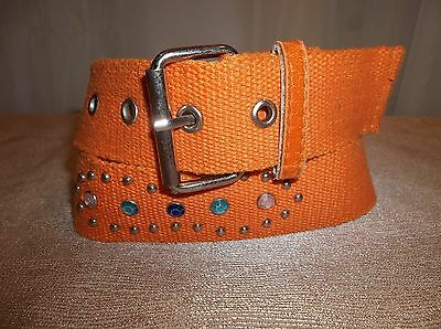ORANGE Studded Jeweled Canvas BELT Girl's Size SMALL/MEDIUM