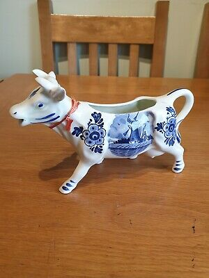 Vintage Hand Painted Delft DBL Cow Creamer
