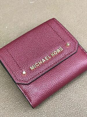 f37164147efd Nwt Michael Kors Pebbled Leather Hayes Md Trifold Coin Purse Wallet Mulberry