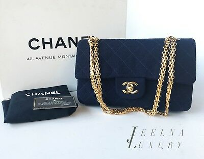 e40880737ec0 Auth Chanel Navy Blue Jersey Classic Small Double Flap 22k gold hardware  *MINT*