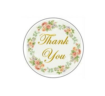 """60 Thank You with Flower Ring #5 ENVELOPE SEALS LABELS STICKERS CELEBRATION 2"""""""