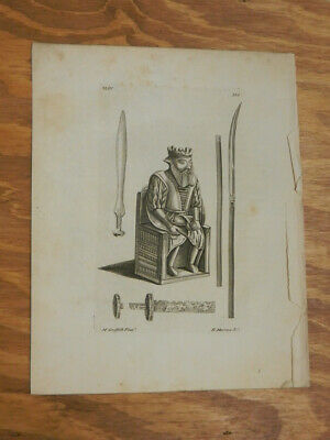 1776 Antique Print///STATUE OF THE KING