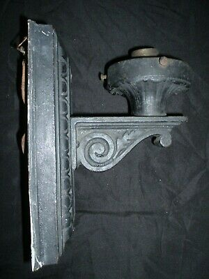 Antique Vintage Victorian Gothic Architecural Heavy Black Cast Iron Wall Sconce